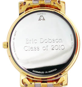 Aurista engraved watch case back